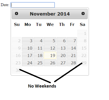 Disable Weekends Jquery DatePicker