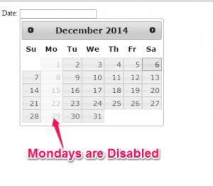 Mondays are Disabled