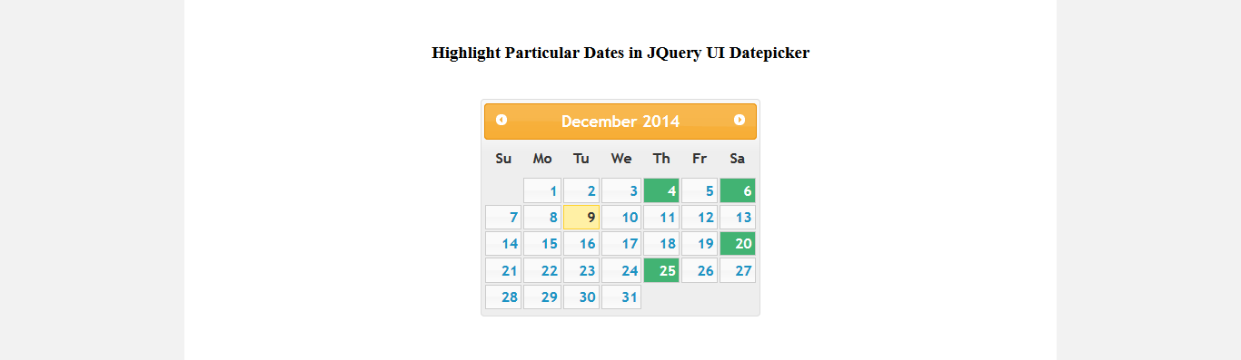 Highlighting particular dates