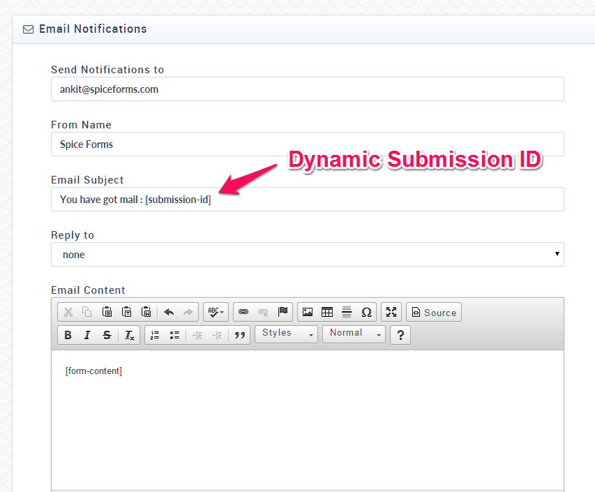 SpiceForms Dynamic Submission ID